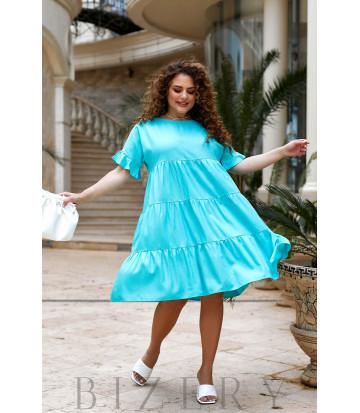 Повседневное льняное платье в бирюзовом цвете В920