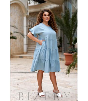 Повседневное льняное платье цвет синяя дымка В917
