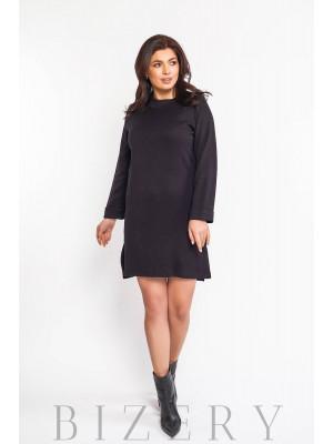 Платье женское из мягкой ангоры в чёрном цвете В580