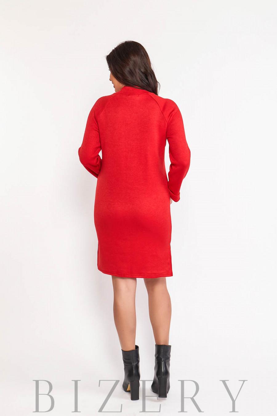 Платье женское из мягкой ангоры в красном цвете В581