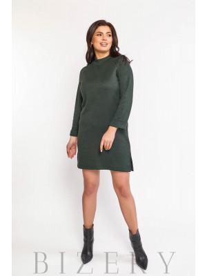 Платье женское из мягкой ангоры в тёмно-зелёном цвете В582