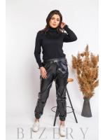 Кожаные штаны джоггеры в чёрном цвете В584