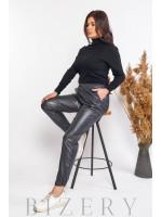 Кожаные штаны джоггеры в цвете темный графит В585
