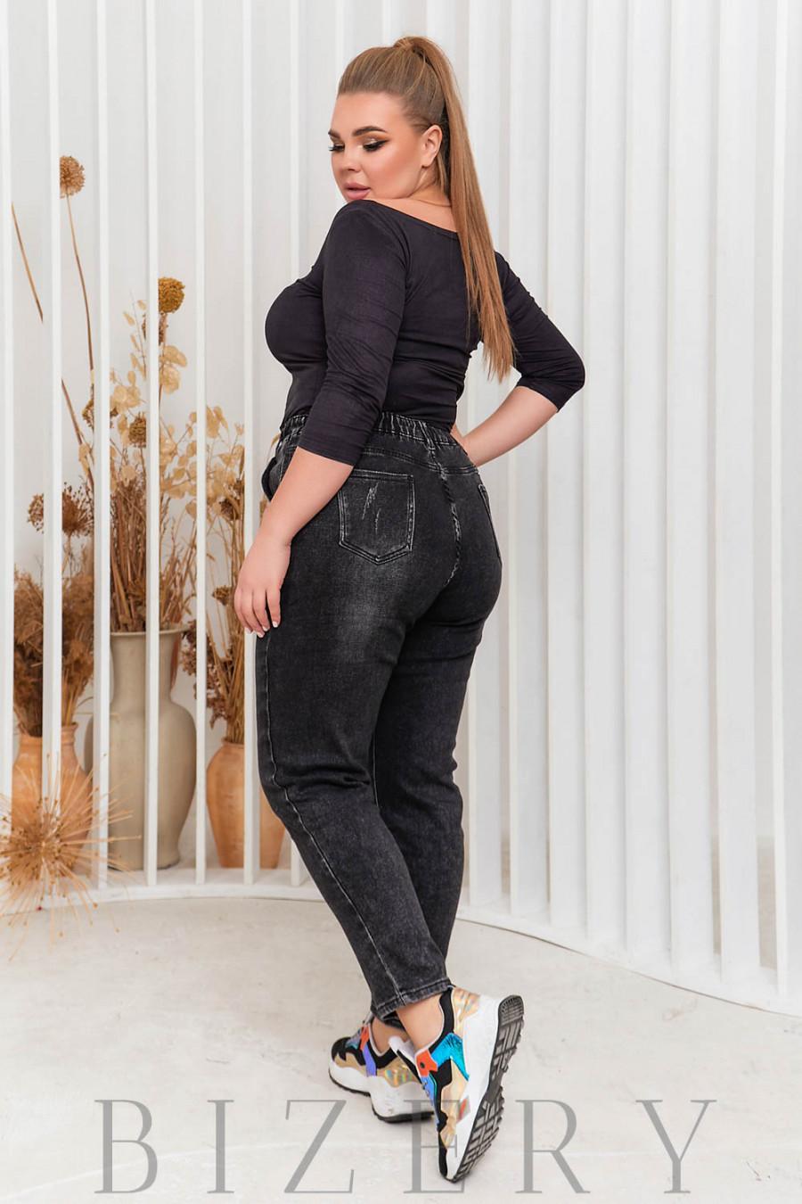 Стрейчевые джинсы  в чёрном цвете В586