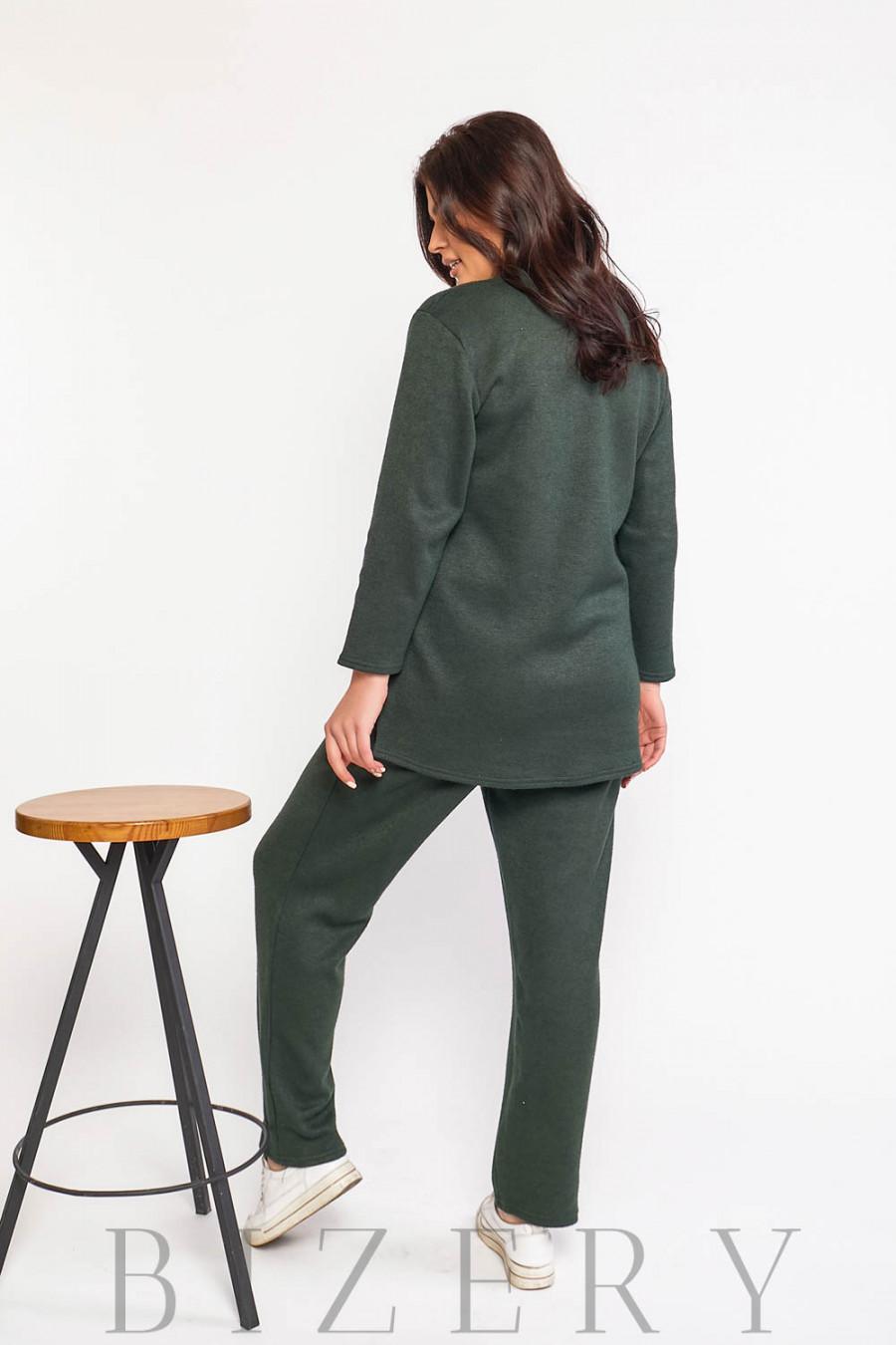 Стильный костюм двойка Plus Size в тёмно-зелёном цвете В588