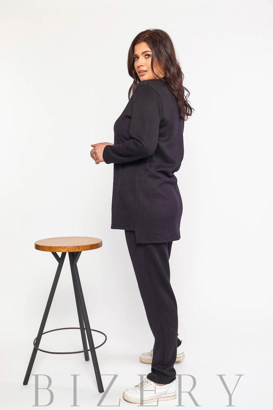 Стильный костюм двойка Plus Size в чёрном цвете В589