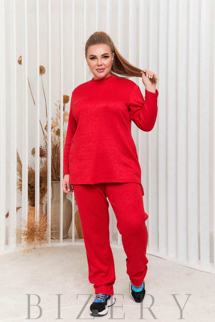Стильный костюм двойка Plus Size в красном цвете В590