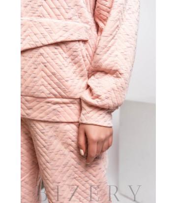 Стильный спортивный костюм свободного кроя в нежно-розовом цвете В594
