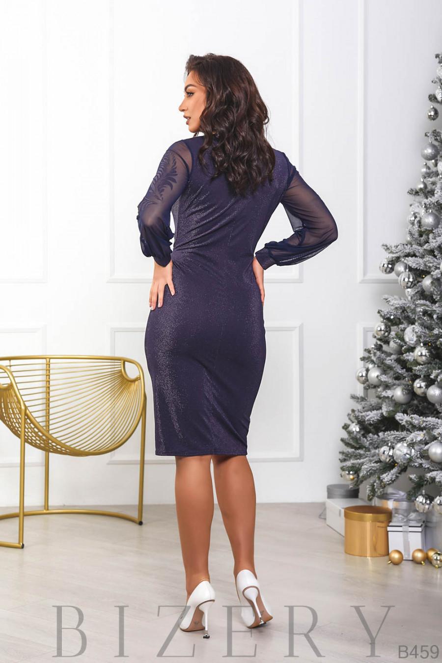 Женское платье с имитацией запаха в тёмно-синем цвете B459