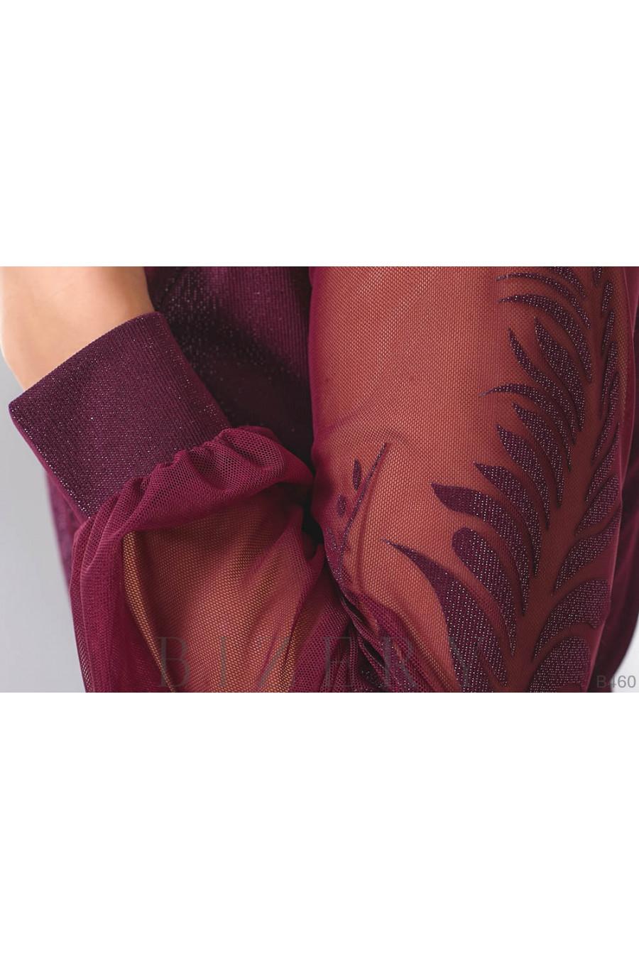 Женское платье с имитацией запаха в цвете марсала B460