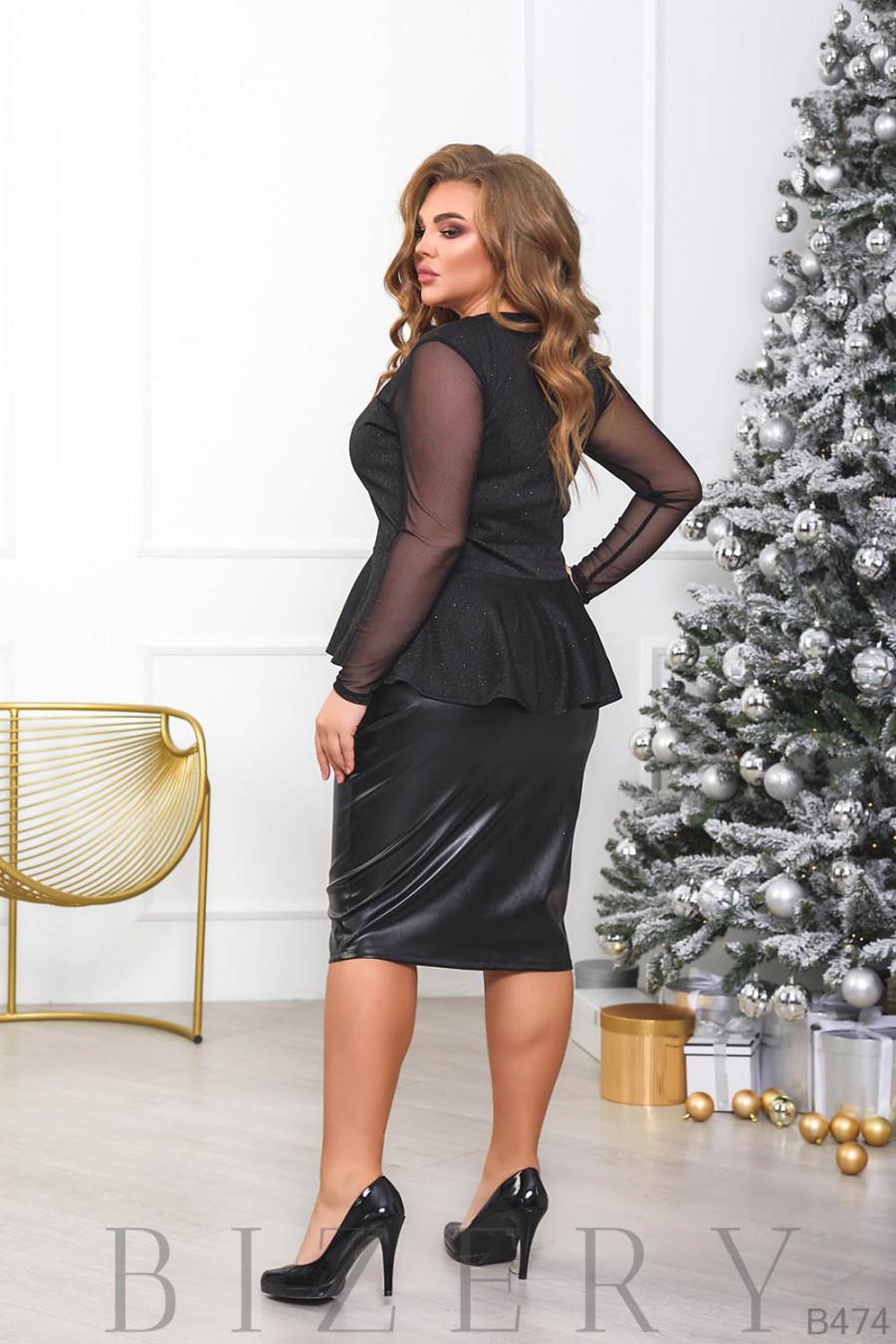 Элегантный женский костюм в чёрном цвете B474