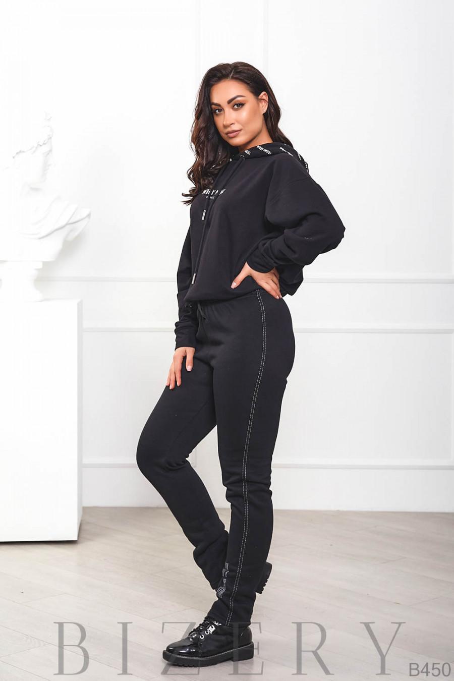 Чёрные утеплённые штаны на флисе B450