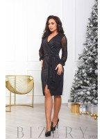 Женское платье с имитацией запаха в чёрном цвете B458