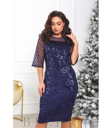 Велюровое платье декорировано пайетками B468