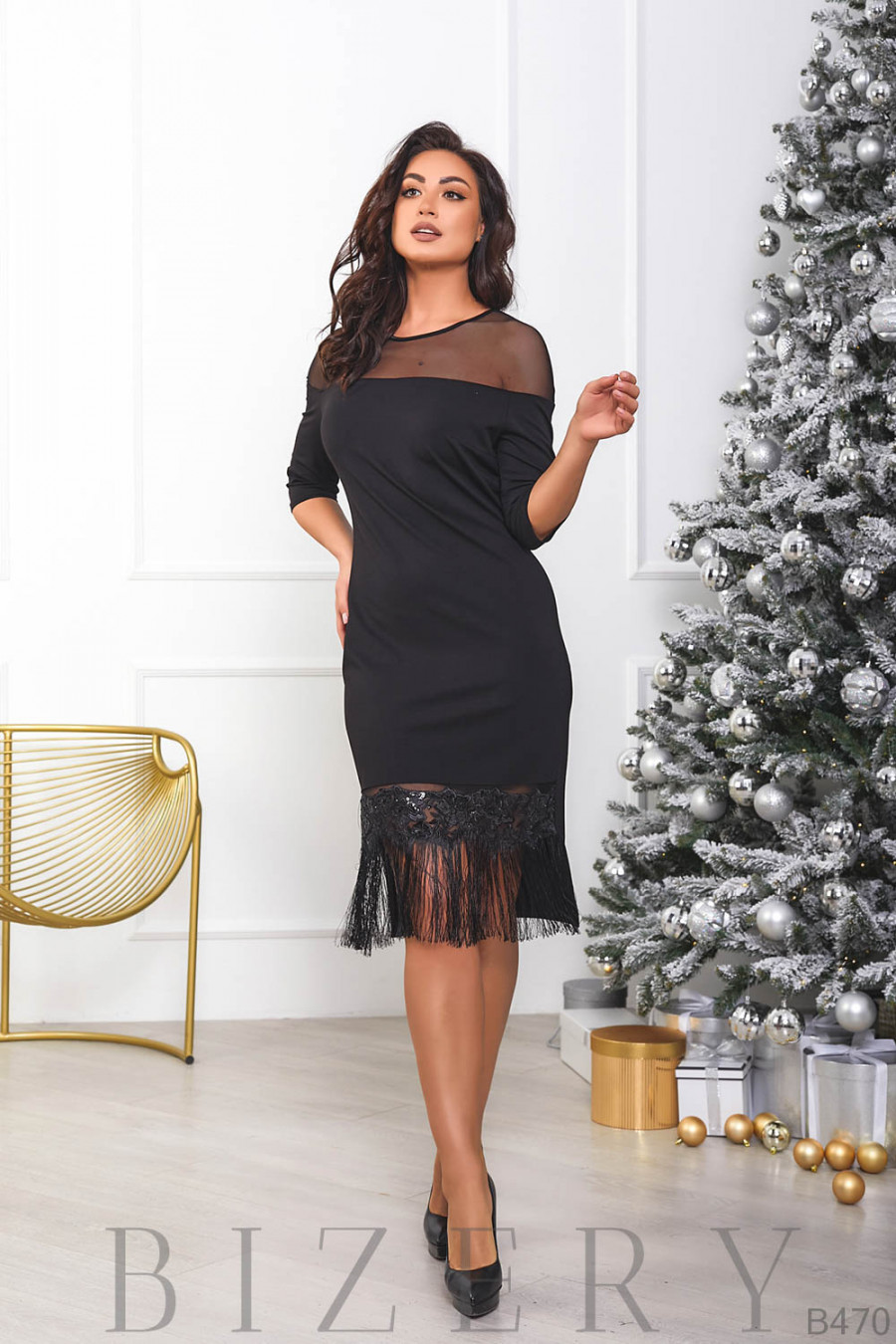 Черное платье с бахрамой B470