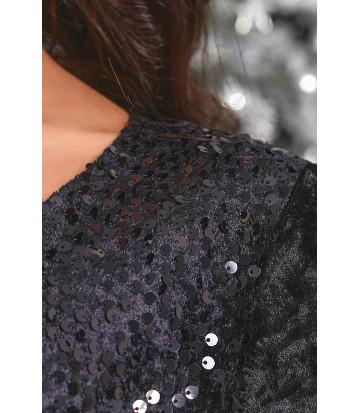 Вечернее велюровое платье в черном цвете B471