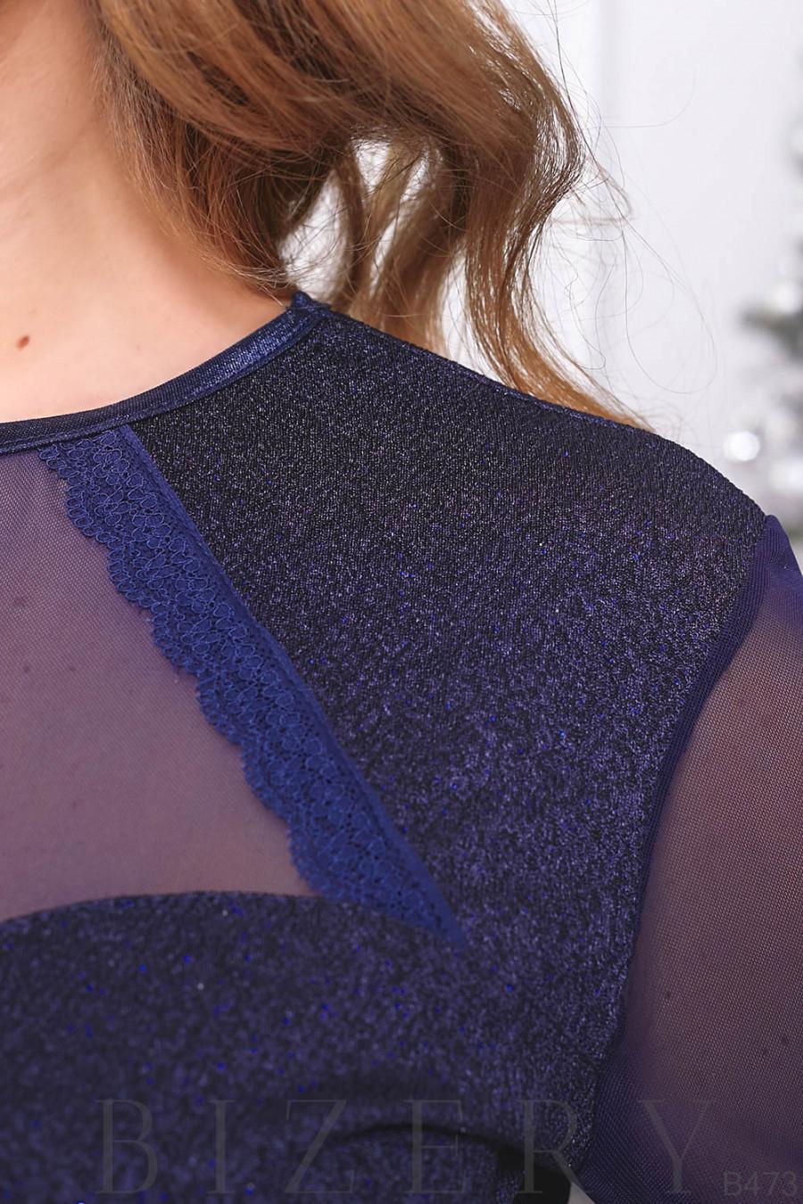 Элегантный женский костюм в тёмно-синем цвете B473