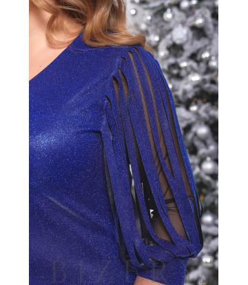 Люрексовое платье в сапфировом цвете B477
