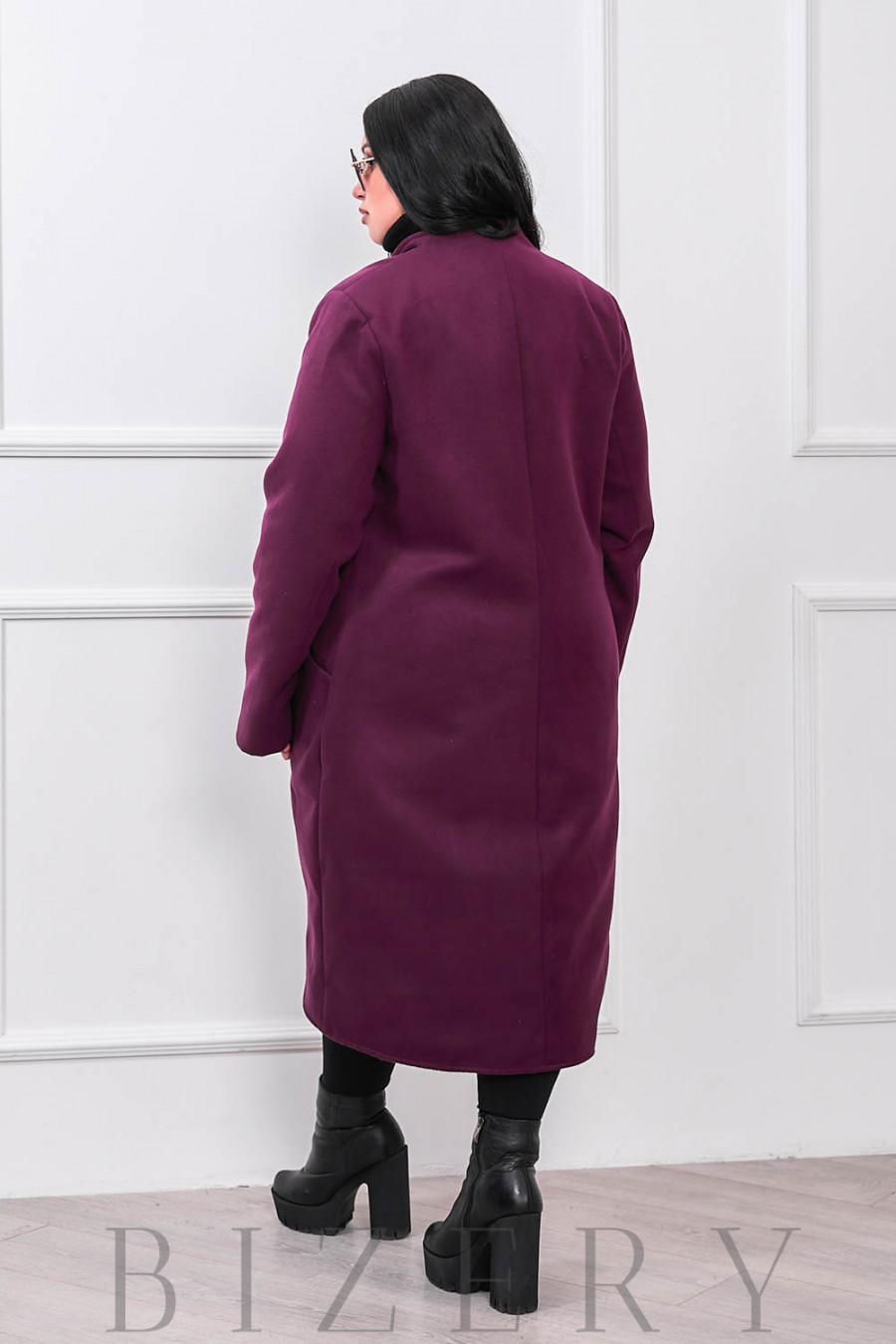 Демисезонное пальто фрак в цвете марсала В657