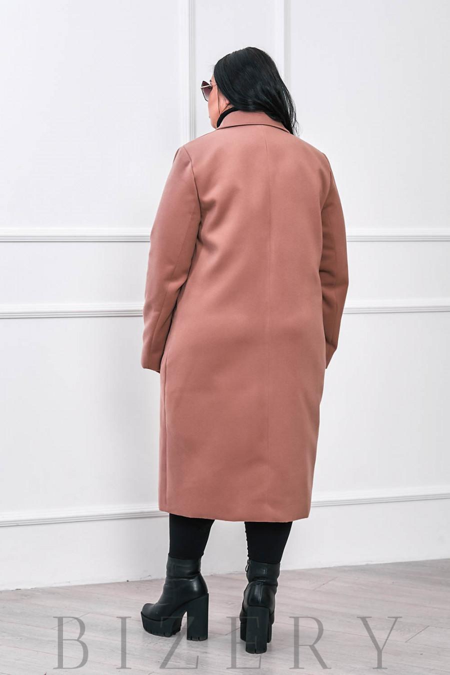 Кашемировое бежевое пальто В662