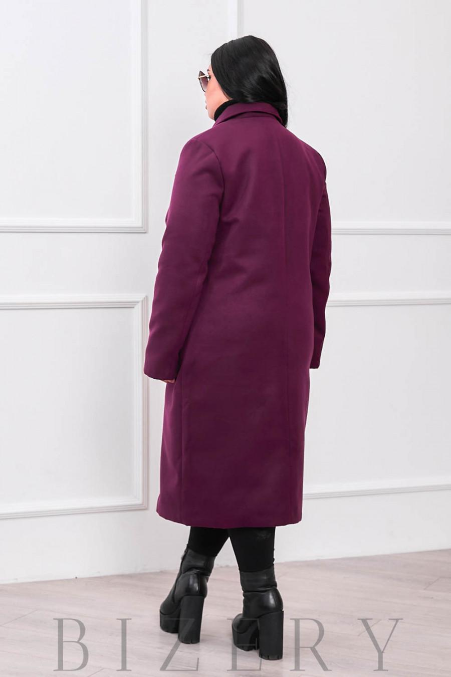 Кашемировое пальто цвет марсала В663