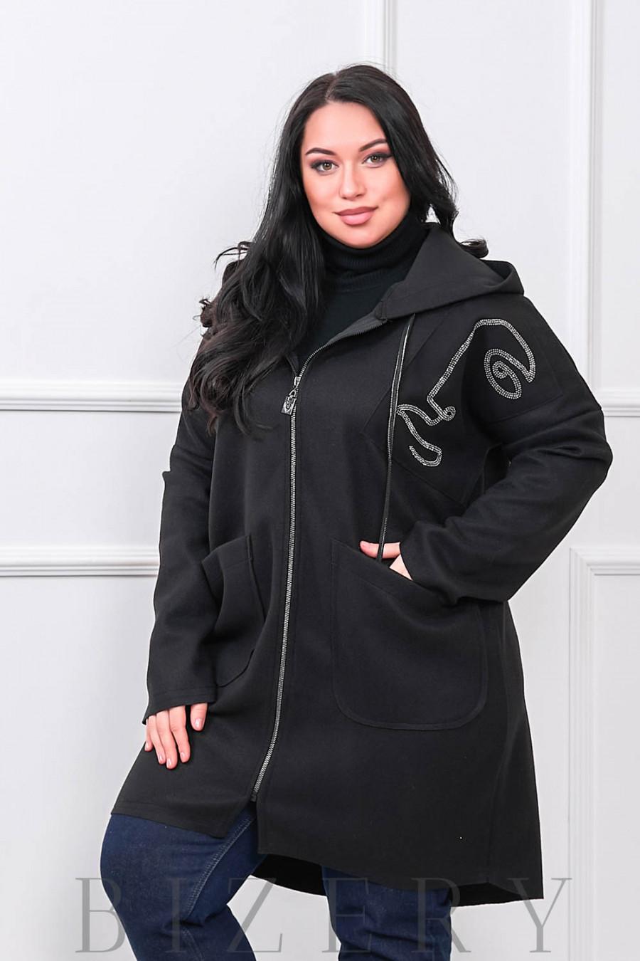 Чёрный кардиган с капюшоном В669