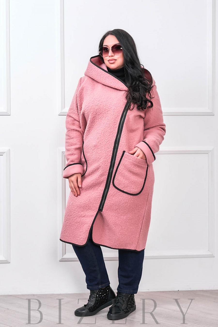 Женское пальто букле барашек розовое В673