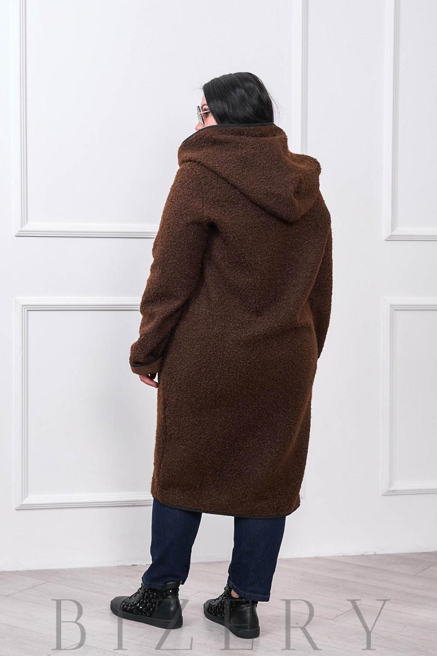 Женское пальто букле барашек шоколад В672