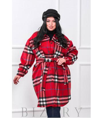 Кашемировое пальто-рубашка В676