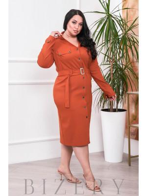 Платье на пуговках морковного цвета В681