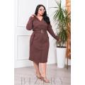Платье на пуговках шоколадного цвета В682
