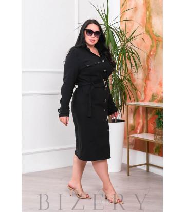 Платье на пуговках чёрного цвета В683