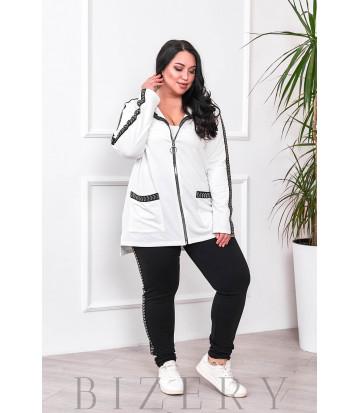 Стильный костюм спорт-шик белый В685