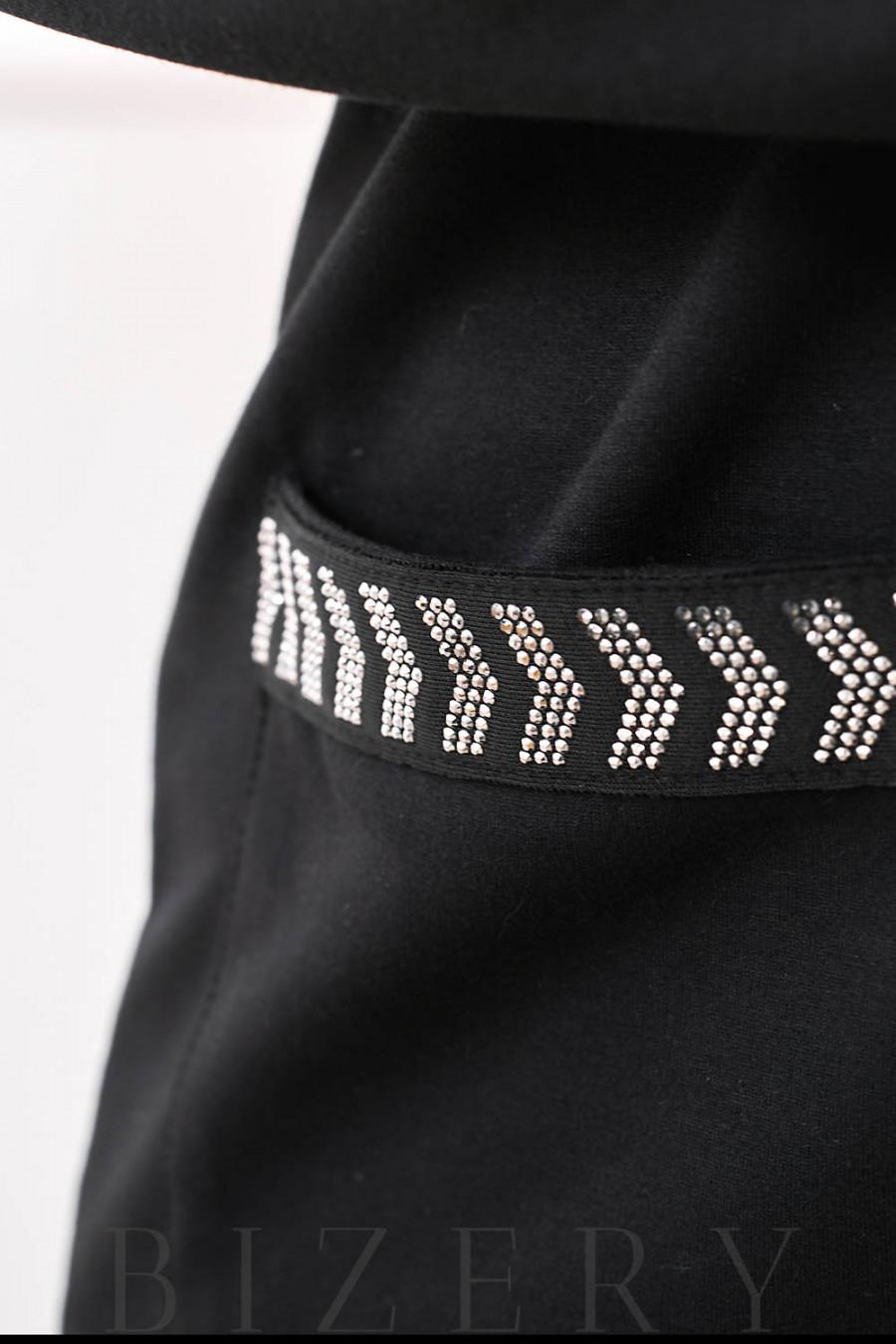 Стильный костюм спорт-шик чёрный В686