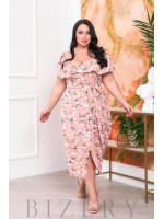 Нежное платье-сарафан персиковый цвет В693