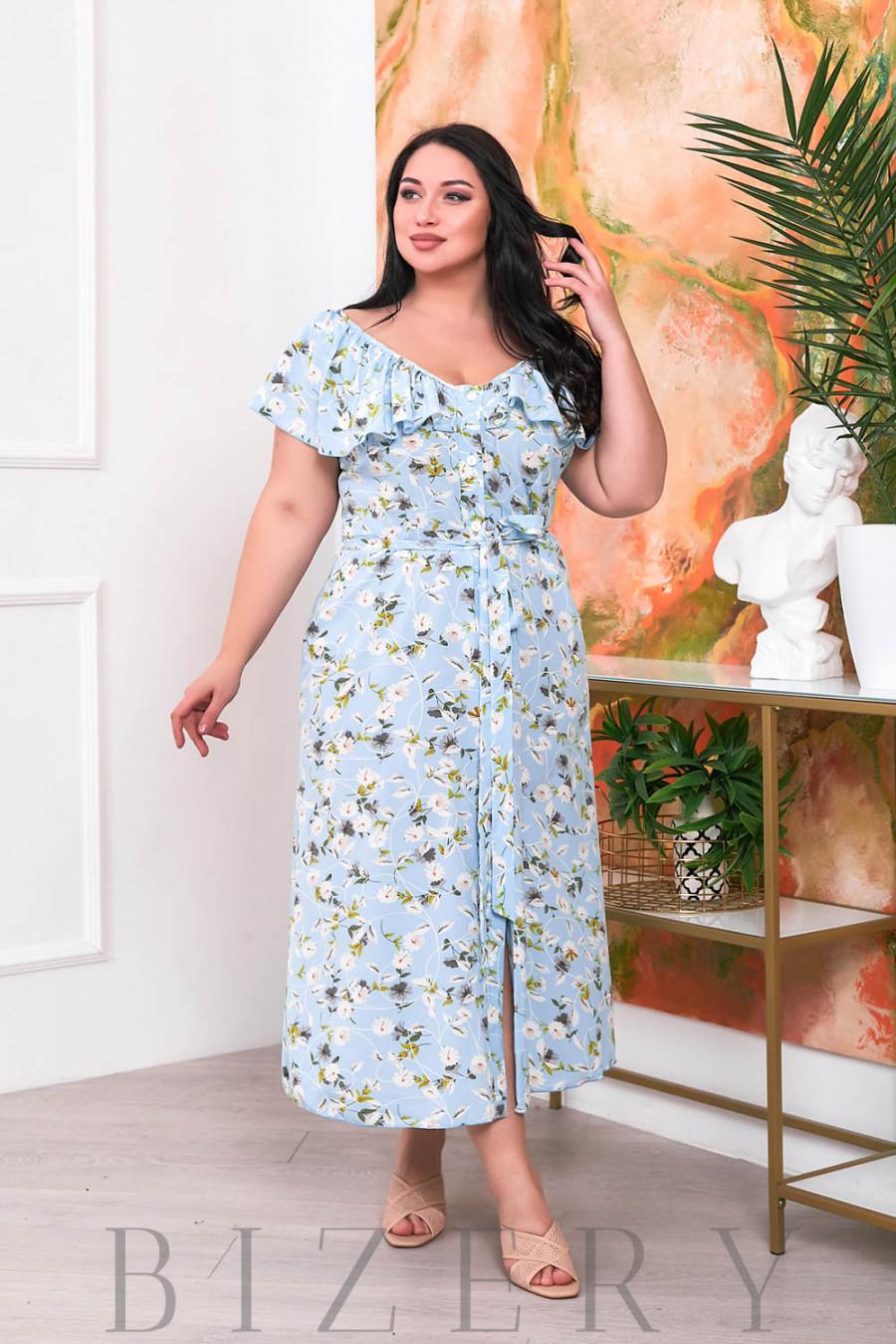 Нежное платье-сарафан голубой цвет В694