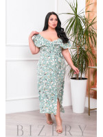 Нежное платье-сарафан оливковый цвет В695