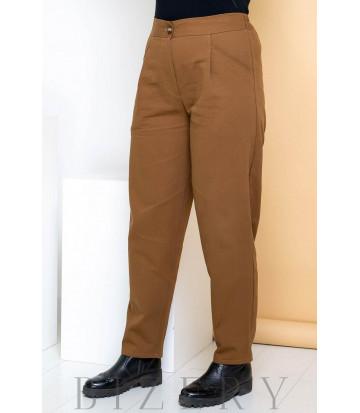 Джинсовые брюки бананы темный капучино В709
