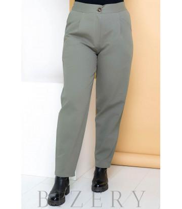 Джинсовые брюки бананы светлый хаки В708