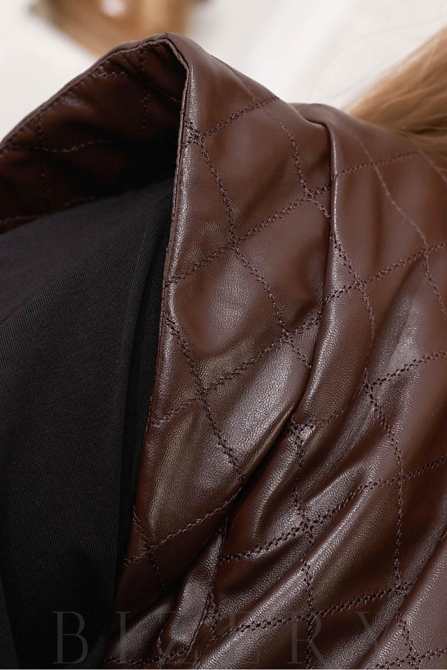 Удлиненная кожаная жилетка В706