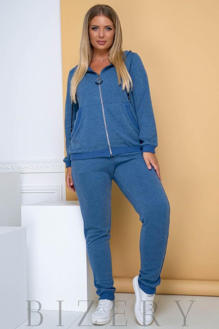 Костюм полу-спорт цвета джинс В696