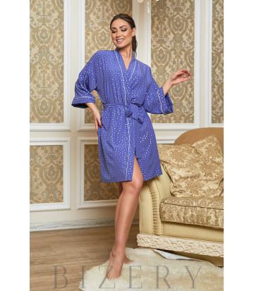 Домашний синий халат в белый горошек В622
