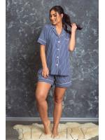 Пижама для сна тёмно-синяя в полоску В623