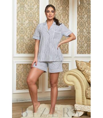 Белая домашняя пижама в тёмно-синюю полоску В624