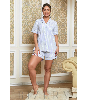 Белая домашняя пижама в голубую полоску В625