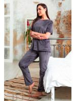 Велюровая плюшевая женская пижама в темно-сиреневом цвете В631