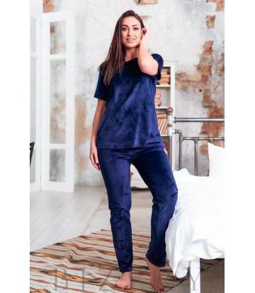 Велюровая плюшевая женская пижама в темно-синем цвете В633