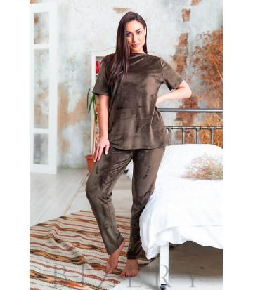 Велюровая плюшевая женская пижама в темно-коричневом цвете В634