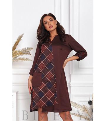 Платье свободного кроя в шоколадной расцветке B404