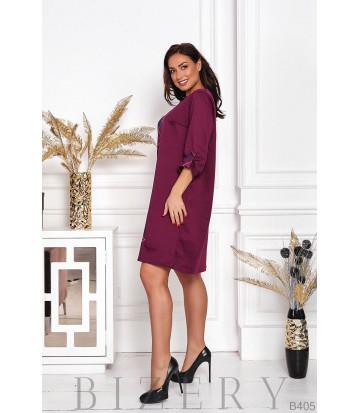 Платье винного цвета марсала свободного кроя  B405